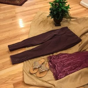 Dark burgundy slacks